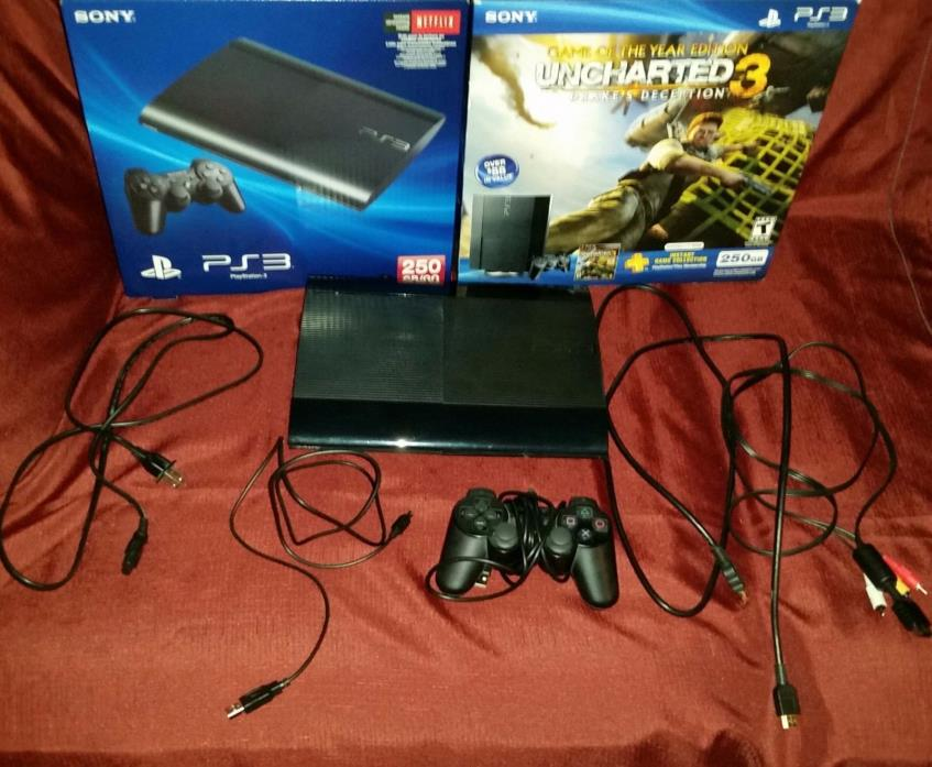 PS3  Slim 250 GB Uncharted 3 Game of The Year Edition + Lot of 10 Games