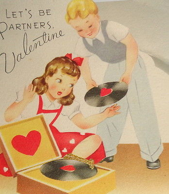 Vintage Valentine greeting card, kids playing music record player,GB 5 1/2