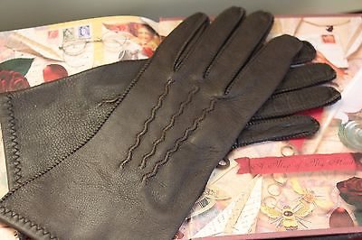 VINTAGE ELEGANT WOMEN'S SOFT LEATHER BROWN GLOVES BY VAN RAALTE SIZE SMALL