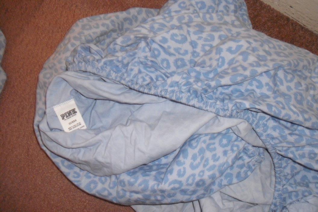 Victoria's Secret leopard bed sheets dorm cheetah  queen flat fitted VS set