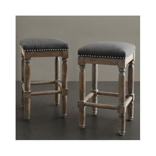 Kitchen Bar Stool Furniture Vintage Wood Counter Height Chair Set Backless Seat