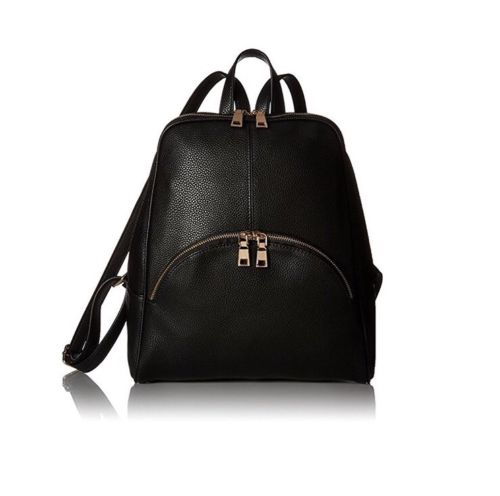 Womens Black PU Leather Fashion Simple Style Backpack Shoulder Bag