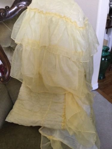 VINTAGE YELLOW QUILTED TOP BEDSPREAD WITH RUFFLE