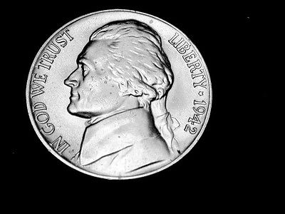1942 P  Choice/Gem BU Bright Silver Jefferson Nickel  Coin#1