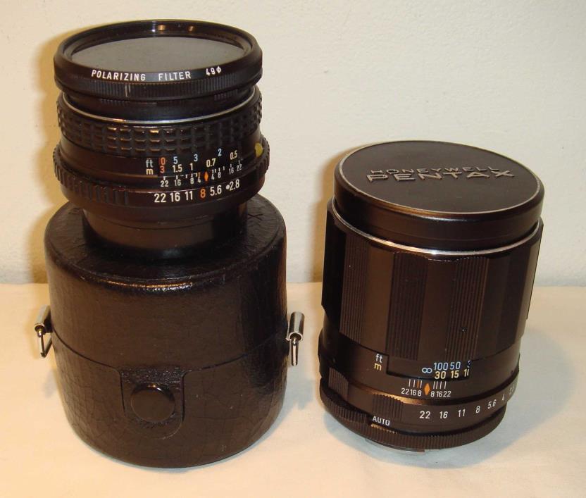 Super-Multi-Coated TAKUMAR 2.5 135mm lens and SMC Pentax-M 2.8 28mm lens