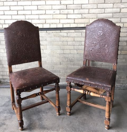 Vtg Pair Henry II French Embossed Leather Parlor Chair Antique Renaissance
