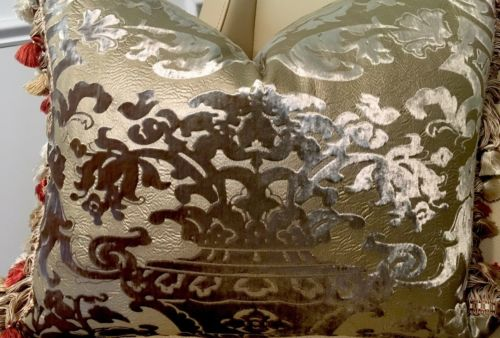 OLIVE GOLD  RAISED VELVET SILK CHINOISERIE VASE; SCALAMANDRE SILK TRIM PILLOW