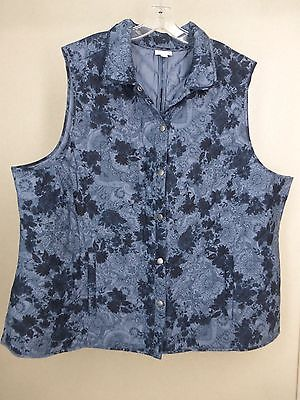 J Jill Quilted Snap Front Vest Size 4X Blue Floral