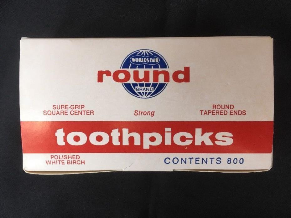 800 Vintage Worlds Fair Polished White Birch Round Wood Toothpicks, Tapered Ends