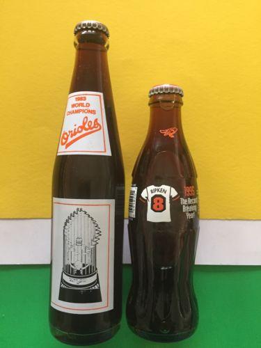 1983 World Champions Baltimore Orioles & Cal Ripken FULL Coca Cola Coke Bottles
