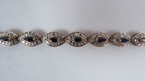 Gold Plated Over Sterling Silver Sapphire Tennis Bracelet