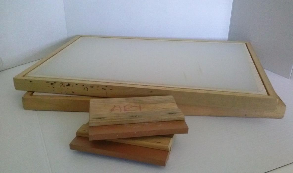2 SILK SCREEN FRAME for SCREEN PRINTING 20x14 w/2 SQUEEGEES