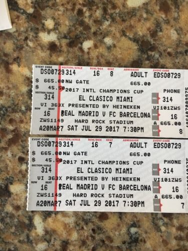 CHEAPER THAN TICKETMSTR!! 2 EL CLASICO MIAMI TICKETS REAL MADRID BARCELONA