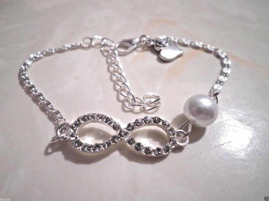 womens sterling silver crystal infinity charm pearl bangle bracelet adj 7-9 inch