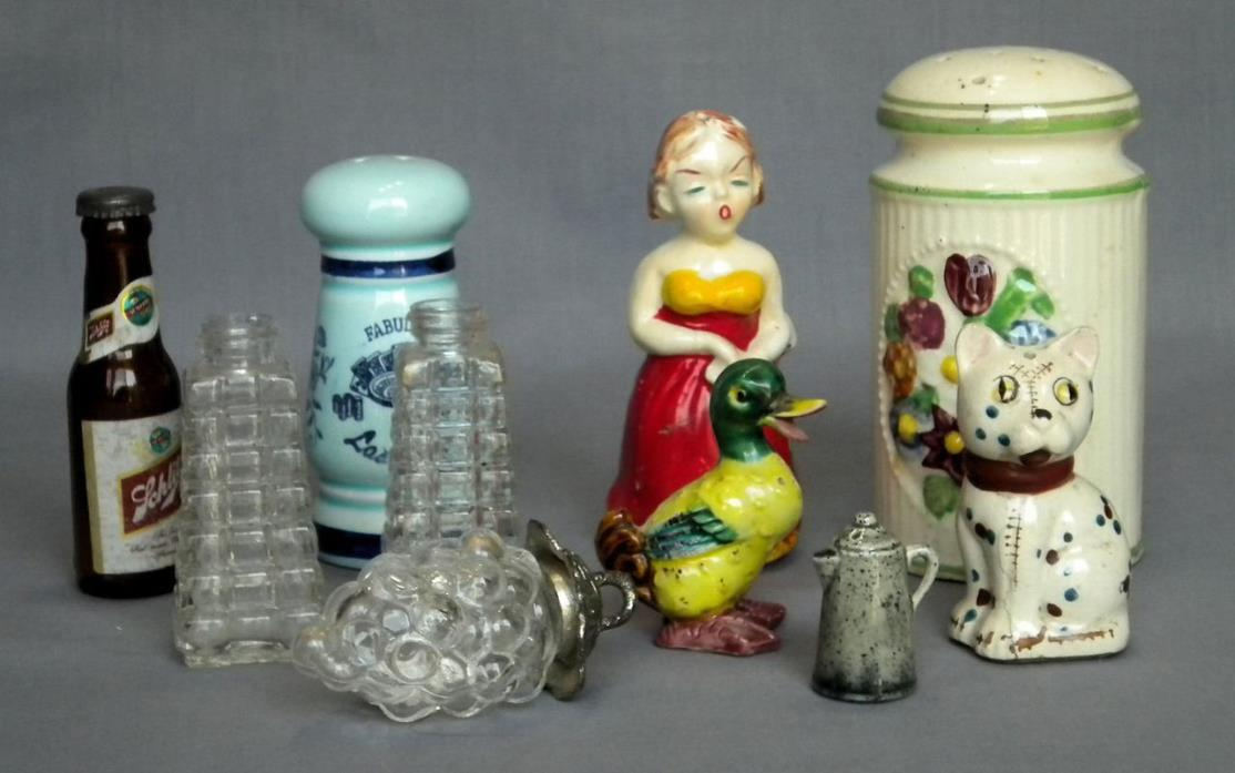 Lot of 10 Misc Vintage Salt and Pepper Shakers Replacements Woman Grapes Beer