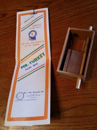Vintage Cedar Wood Hall & Hall Mr. Turkey - Simplicity Wild Turkey Box Call #PB