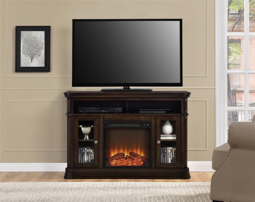 TV Stand Electric Fireplace Entertainment Center Console Espresso Free Shipping