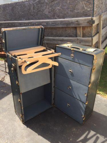 Oshkosh Wardrobe Trunk 1920's. Suitcase. Steamer
