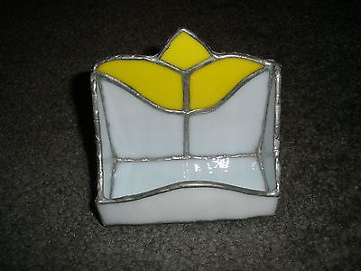 Yellow Tulip Stained Glass Business Card Holder Beautifully Hand Made