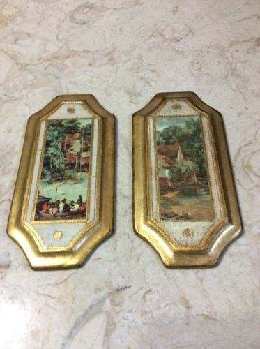 2- LONG VINTAGE ITALIAN WOOD GOLD GILT WALL PICTURES