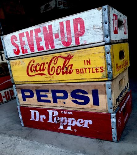 4 Vintage Wood Soda Pop Crates Dr Pepper Coke Pepsi  & 7up Lot
