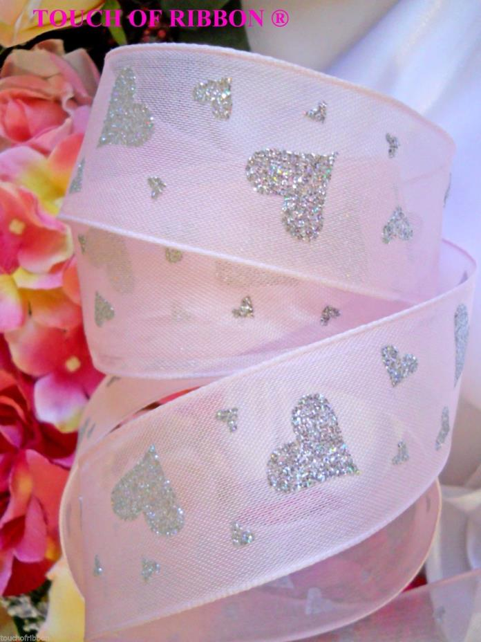 Ribbons pink silver heart wired wedding bridal princess gift 4 yards 1 1/2