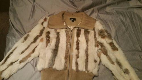 Rabbit fur bomber jacket women's size Large