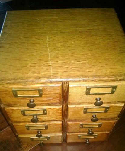 Vintage 8 Drawer Wooden Card Catalog Cabinet