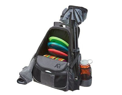 Grey Black Disc Golf Backpack Deluxe Frisbee Travel Bag Portable Holds 21+ Discs