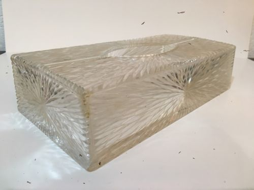 Vintage Hollywood Regency Celebrity Lucite Starburst Tissue Kleenex Holder Box