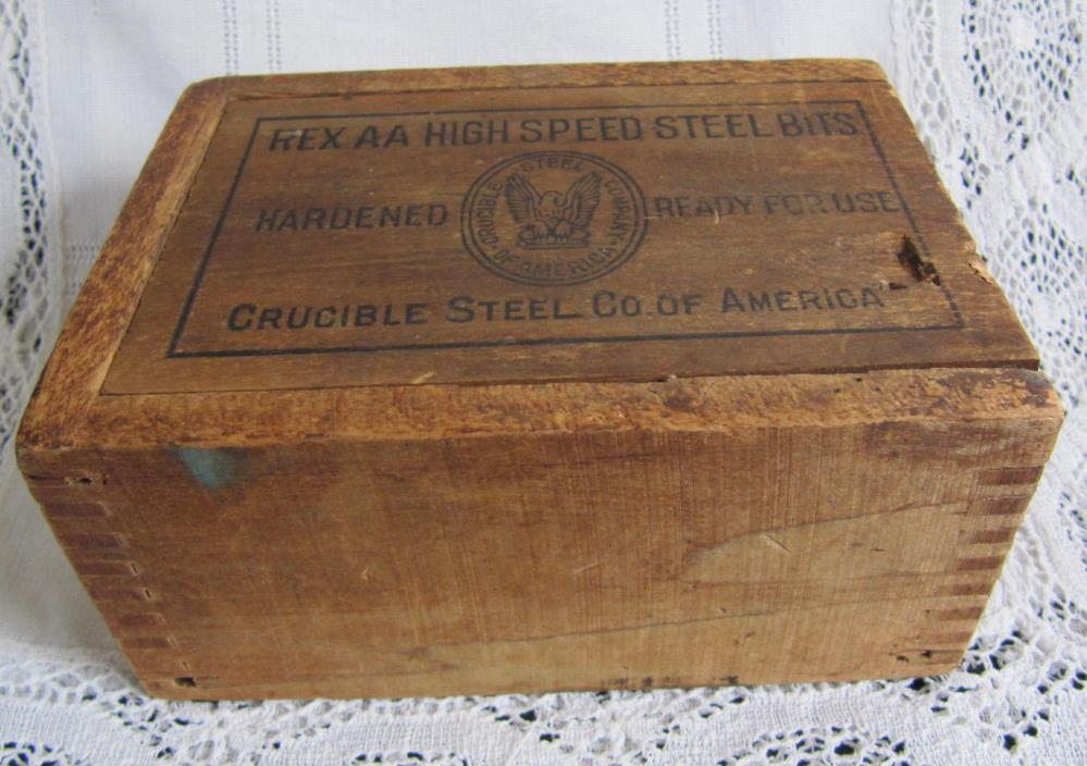 Vintage Crucible Steel Co of America Small Wooden Trinket Box Sliding Lid