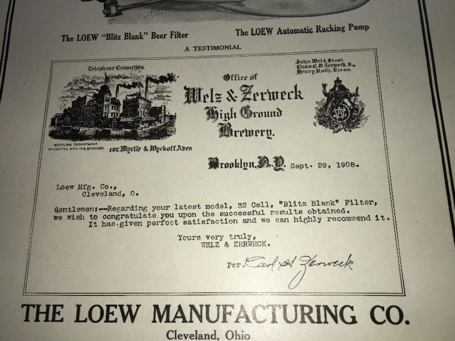 1907 Welz Zerweck Brooklyn New York Loew Beer Filter Brewing Eq Advertising