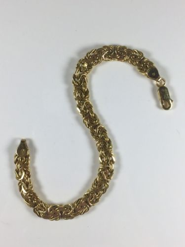 14K YELLOW GOLD GRADUATED BYZANTINE BRACELET 6.6 GRAMS / 6.75