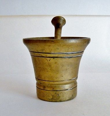 Vintage Small Brass Mortar and Pestle Set