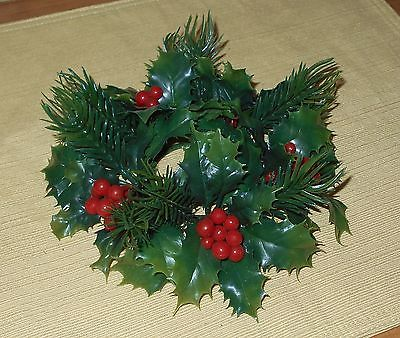 Candle Ring - Plastic Evergreen & Holly - 8