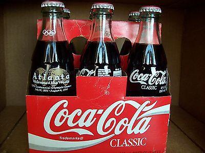 6 Pack 1996 Atlanta Olympics Coke Bottles - Coke Coca Cola Bottle - Full 8 ounce