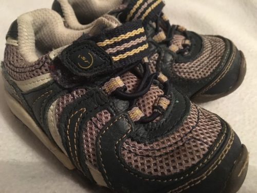 Stride Rite Toddler Shoes Size 6.5 W Wide With Navy Blue Tennis Sneaker Athleti…
