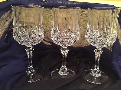 3 Cristal D'Arques LONGCHAMP Lead Crystal WATER/WINE Goblet 7-1/4