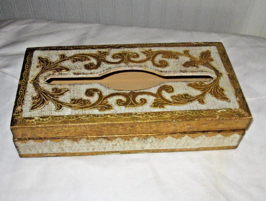 SIGNED Gold Gilt Covered Italian Florentine Tole Painted Wood Kleenex Tissue Box