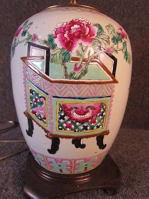 ANTIQUE CHINESE PORCELAIN ROSE MANDARIN DECORATED VASE LAMP