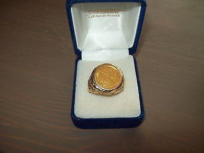 Mens 14K YG 1984 1/10 oz Gold Krugerrand Coin Nugget Ring Gents SZ 10.5 Vintage