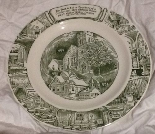ANTIQUE ALLIANCE OHIO FIRST PRESBYTERIAN CHURCH PLATE 1854 - 1954 KETTLESPRINGS