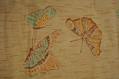 Vtg Cannon Butterfly QUEEN FLAT Sheet 70s retro Bamboo Brown floral tan Boho