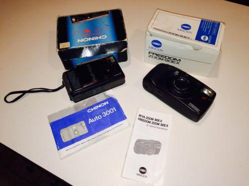 Chinon Auto 3001 Multi Focus 35 mm Camera And Minolta Freedom Zoom 900EX Camera