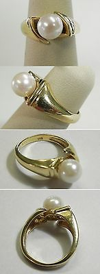 C519 Vintage 14K Yellow Gold Ladies 7.32mm Cultured Pearl Solitaire Ring, Sz 5