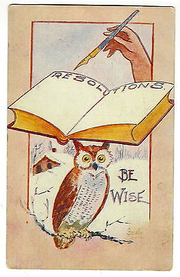 POSTCARD - VINTAGE NEW YEAR - ARTIST SIGNED - BEATY - OWL - RESOLUTIONS BOOK