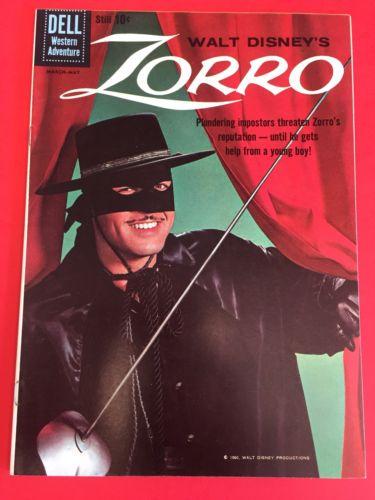 DELL COMICS - ZORRO  # 9 ( 1960 )- HIGH GRADE COPY - WALT DISNEY  PHOTO COVER