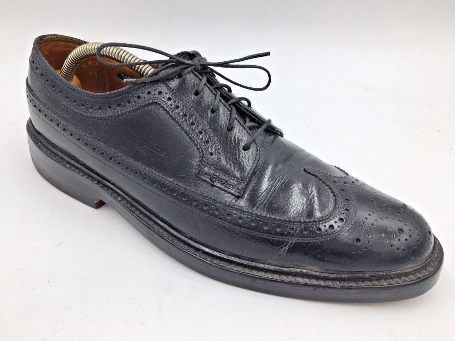 Vintage Florsheim Imperial Black Longwing Wingtip Oxfords 92604 size 8.5B USA D4