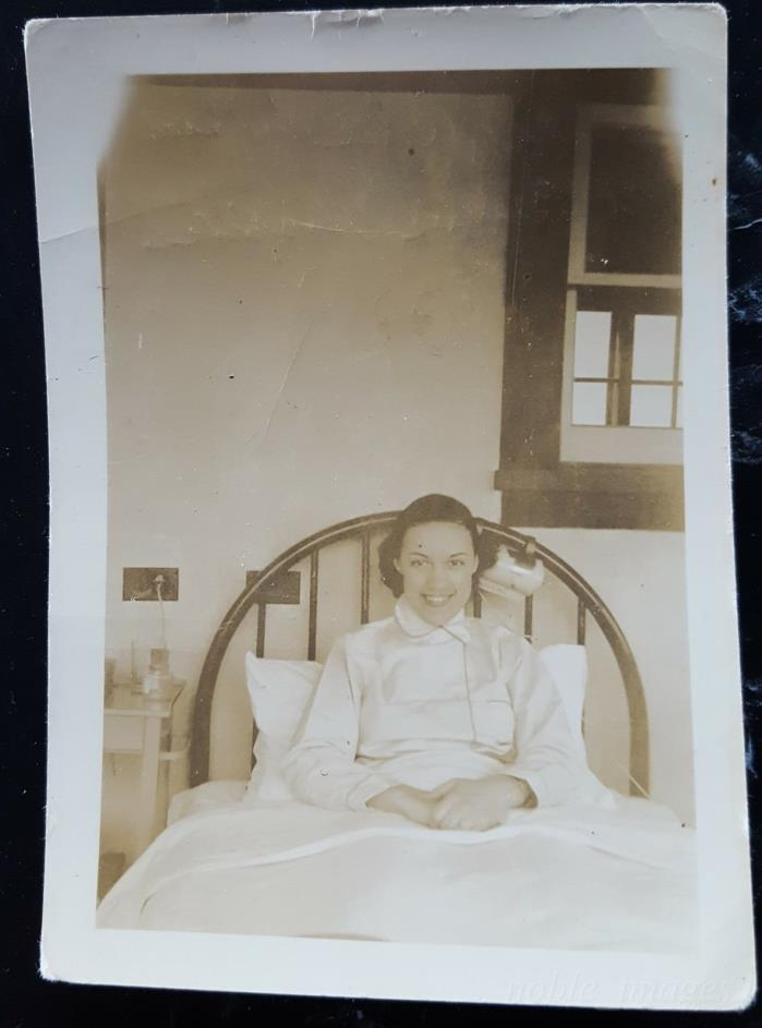 1938 Pretty Woman Patient in Bed, Bellevue Hospital NY Photo B&W Snapshot