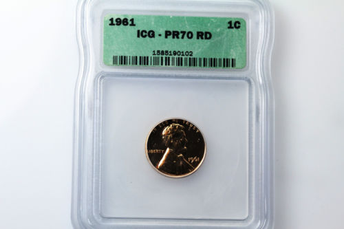 For Sale One ICG Graded PR70 RD 1961-P Lincoln Small Cent Penny Coin (NUM3025)